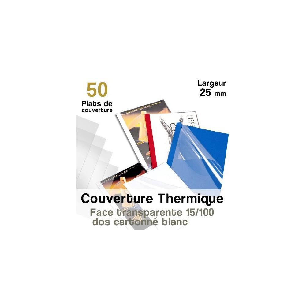 Face transparente 15/100 - dos cartonné blanc - Paquet de 50 plats de couvertures