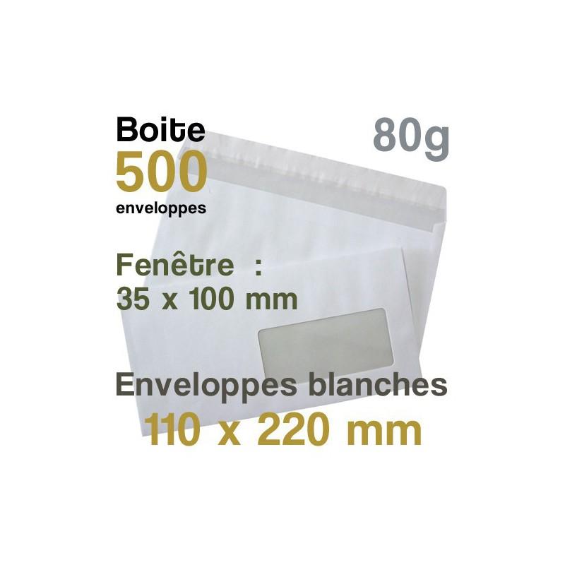 Enveloppes Blanches - 110 x 220 mm avec fenêtre - 80g