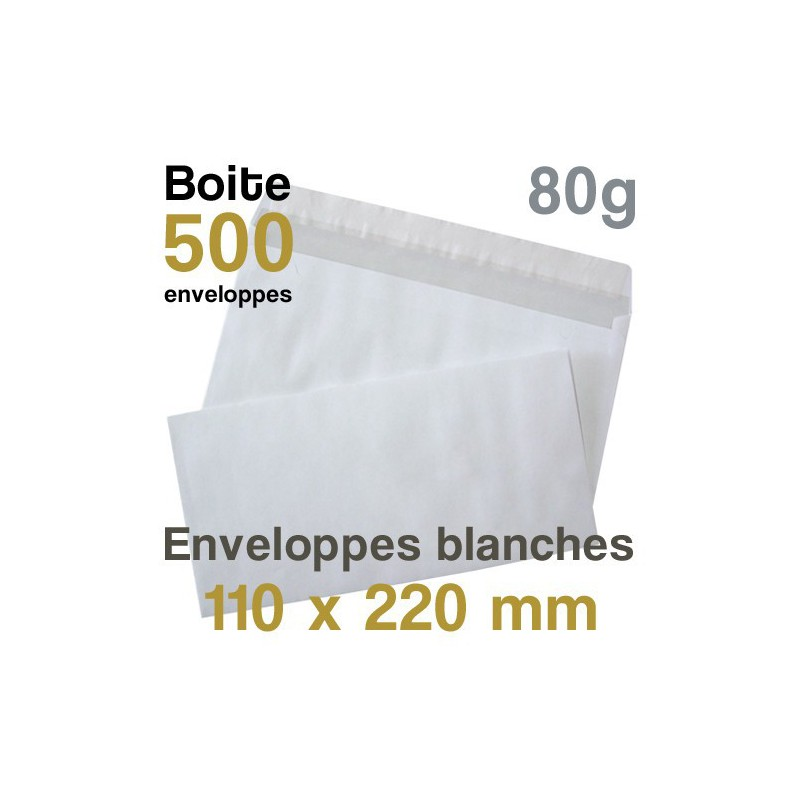 Enveloppes Blanches - 110 x 220 mm - 80g