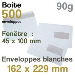 Enveloppes Blanches - 162 x 229 mm avec fenêtre - 90g