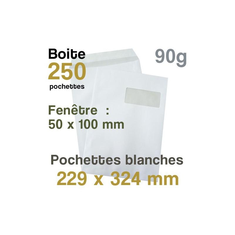 Pochettes Blanches - 229 x 324 mm avec fenêtre - 90g