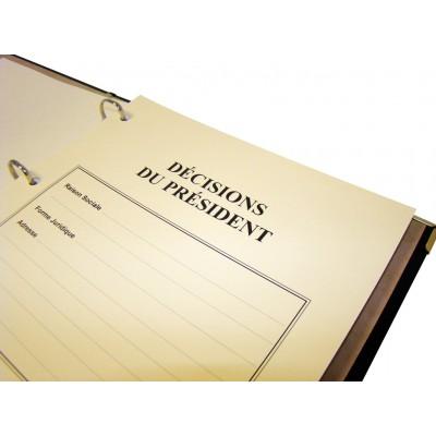 Registre Décisions du Président 100 pages Luxe