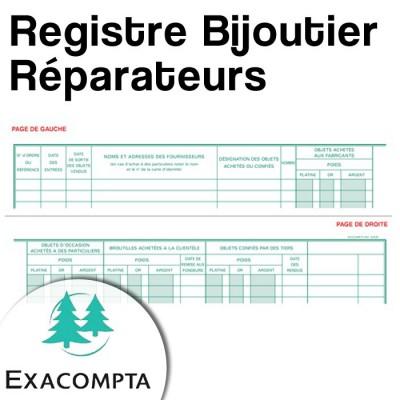 Registre Bijoutier : Réparateurs - Livre de police pour métaux précieux - Exacompta