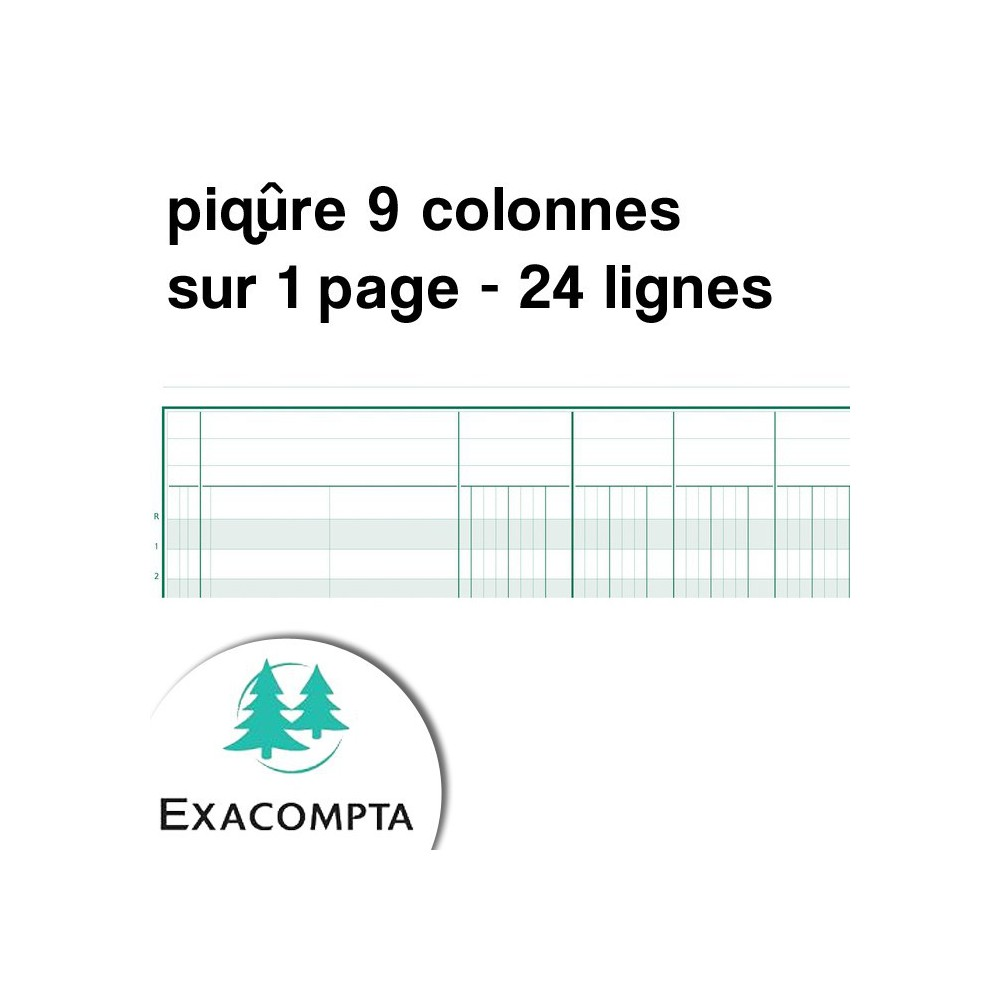 Piqûre 9 colonnes sur 1 page - 24 lignes - Exacompta