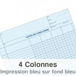 Notes de Conclusion - 4 colonnes - Blocs de 100 Feuilles