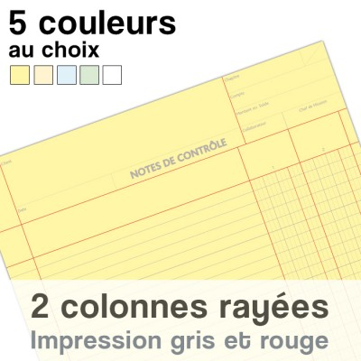 Notes de Contrôle 2 colonnes rayées, bloc comptable de 100 Feuilles