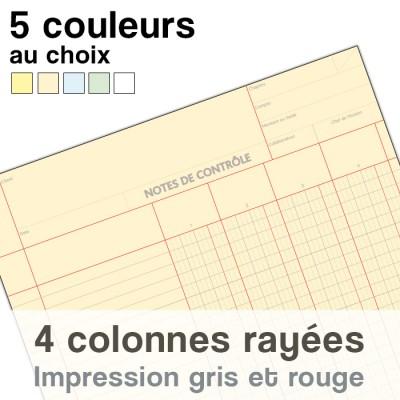 Notes de Contrôle 4 colonnes rayées, bloc comptable de 100 Feuilles