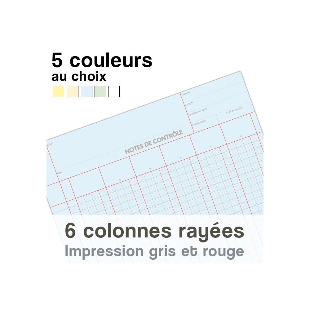 Notes de Contrôle 6 colonnes rayées, bloc comptable de 100 Feuilles