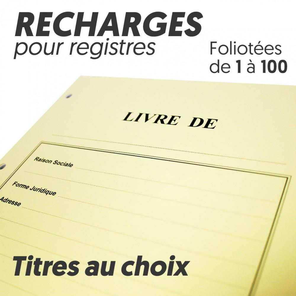 Recharges pour Registres 100 pages - Titres au choix