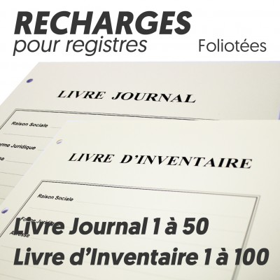 Recharges pour Livre Journal + Livre Inventaire