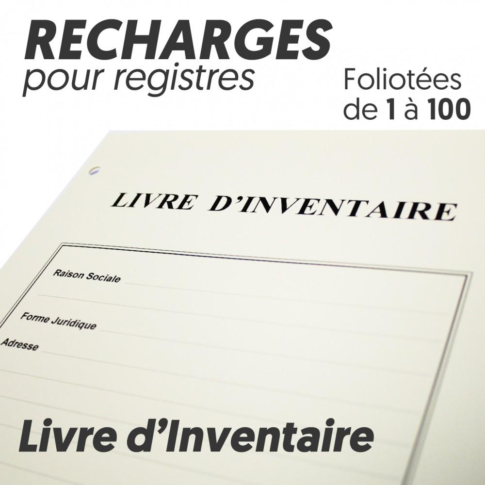 Recharges pour Registres 100 pages - Livre Inventaire