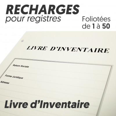 Recharges pour Registres 50 pages - Livre Inventaire