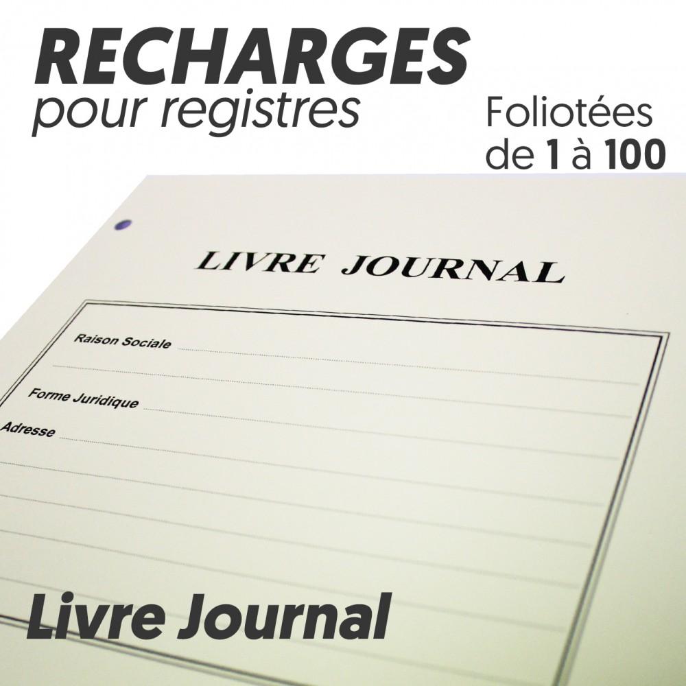 Recharges pour Registres 100 pages - Livre Journal