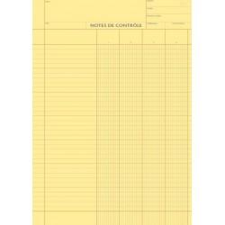 Note de Contrôle - 4 colonnes rayés - Bloc de 100 Feuilles - Vendu par 5 blocs