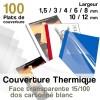 Face transparente 15/100 - dos cartonné blanc - Paquet de 100 plats de couvertures