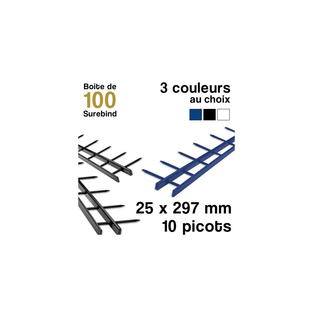 Surebind - 10 picots - 25 x 297 mm - Boite de 100 surebind