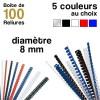 Reliures plastiques - diamètre 8 mm - Boite de 100 reliures
