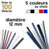Reliures plastiques - diamètre 12 mm - Boite de 100 reliures