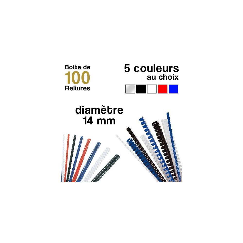 Reliures plastiques - diamètre 14 mm - Boite de 100 reliures