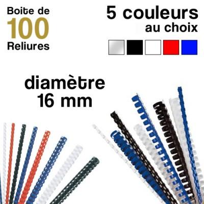 Reliures plastiques - diamètre 16 mm - Boite de 100 reliures
