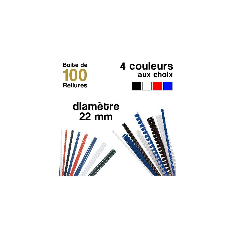 Reliures plastiques - diamètre 22 mm - Boite de 100 reliures