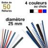 Reliures plastiques - diamètre 25 mm - Boite de 100 reliures