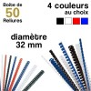 Reliures plastiques - diamètre 32 mm - Boite de 100 reliures