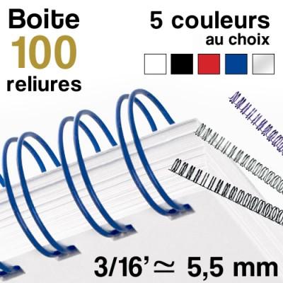 Reliure métallique - 3/16' ≃ 5,5 mm - Boite de 100 reliures