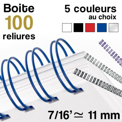 """Reliure métallique - diamètre 7/16"""" ≃ 11 mm - Boite de 100 reliures"""