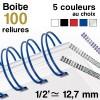 """Reliure métallique - diamètre 1/2"""" ≃ 12,7 mm - Boite de 100 reliures"""