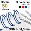 """Reliure métallique - diamètre 9/16"""" ≃ 14,3 mm - Boite de 50 reliures"""