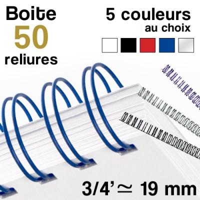 """Reliure métallique - diamètre 3/4"""" ≃ 19 mm - Boite de 50 reliures"""
