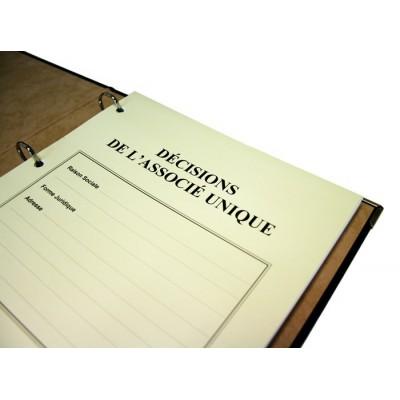 Registres Décisions de l'Associé Unique 50 pages Luxe