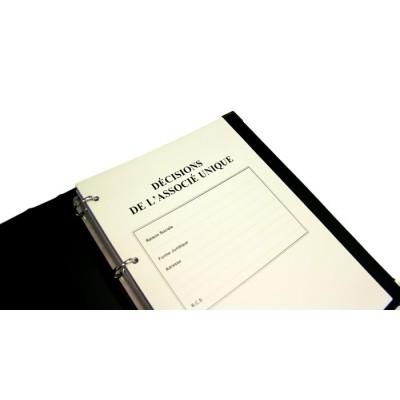 Registres Décisions de l'Associé Unique 100 pages Prestige