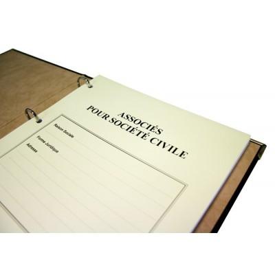Registres des Associés pour Société Civile 50 pages Luxe