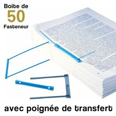 Fasteneur - Entraxe de 8 cm - Boite de 50 Fasteneur bleu + poignée de transfert