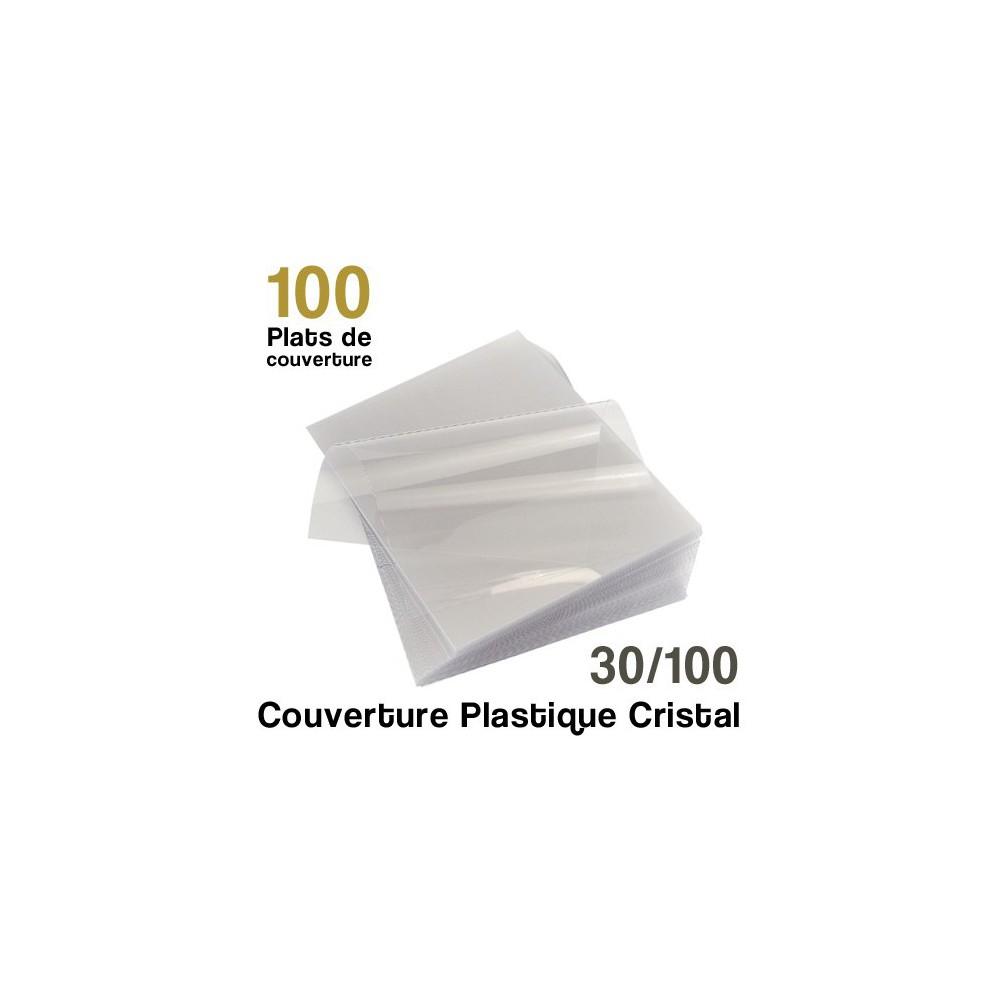Couverture plastique cristal - 30/100 - Paquet de 100 plats de couvertures